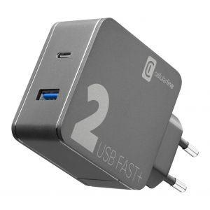 CELLULARLINE KUĆNI PUNJAČ MULTIPOWER COMBO USB/USB-C I KABEL C-C 48W