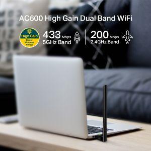 TP-Link AC600 Archer T2U Plus bežični Hifh-Gain Dual-Band USB adapter 200Mbps/433Mbps (2.4GHz/5gHz), 802.11a/b/g/n/ac, 5dBi antena