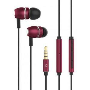 KSIX aluminij dizajn stereo slušalice sa mikrofonom crvene