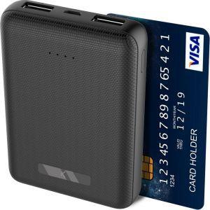 KSIX mini prijenosna baterija za punjenje 10000 mAh micro USB kabel crna