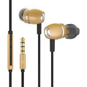 KSIX aluminij dizajn stereo slušalice sa mikrofonom zlatne