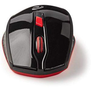 Nedis bežićni miš, 800/1200/1600 DPI, 6 gumbiju, crno/crveni MSWS300RD