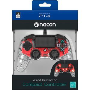 Bigben PS4 Nacon Compact Light Wired Controller prozirno-crveni