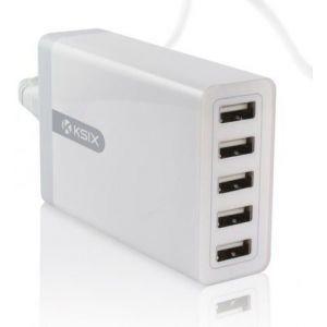 KSIX kućni punjač 5 x USB, 8A bijeli