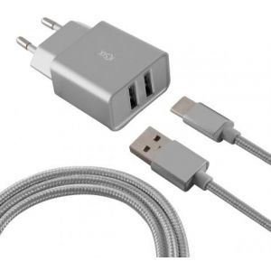 KSIX putni punjač USB C, 2 x USB, 2.4A USB-C kabel srebrni