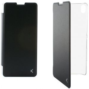 KSIX preklopna torbica za Xperia XA crno/prozirna