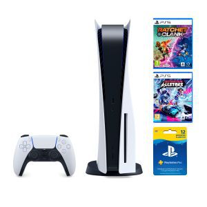 PlayStation 5 B Chassis + Ratchet & Clank Rift Apart PS5 + Destruction AllStars PS5 + Playstation Plus Card 365