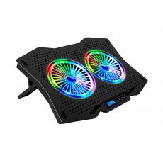 "Podloga za hlađenje RAMPAGE TORNADO AD-RC9, za laptop, RGB, 15-17"", crni"