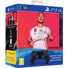 PS4 Dualshock Controller v2 Black + FIFA 20 + FUT VCH + PlayStation Plus 14 Days