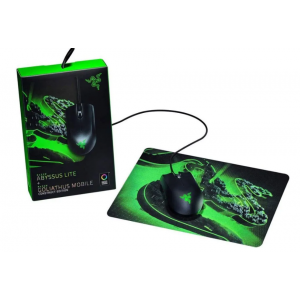 Razer Abyssus Lite optički igraći miš, USB, crni + Goliathus Mobile Construct Edition podloga za miš