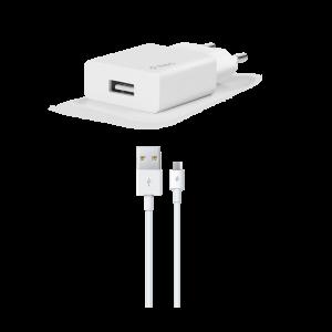 TTEC punjač - Output 1xUSB 2,1A - +MicroUSB cable 1,2m White