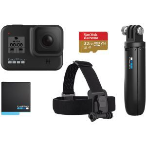 GoPro Hero 8 Black 2019 Bundle (Shorty + HeadStrap + baterija + microSD 32GB)
