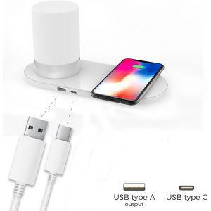 Maxmobile bežični punjač/RGB LED svjetiljka S2 QC Quick Charge 10W bijeli