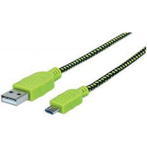 Manhattan Braided Micro USB Cable — A Male/Micro-B Male, 1 m, Black/Green, Polybag