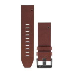 Zamjenski remen za Garmin  fenix 5x/6x - kožni smeđi QuickFit 26mm