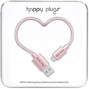 Happy Plugs Micro Usb deluxe kabel 2.0m pink gold
