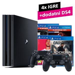 PS4 Pro 1TB + dodatni DS4 kontroler + CoD Modern Warfare + FIFA 20 + GTS + The Last of Us